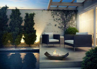 Cortona schwarz auf Terrasse am Pool