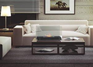 standkamin roma schwarz mit glas im wohnzimmer